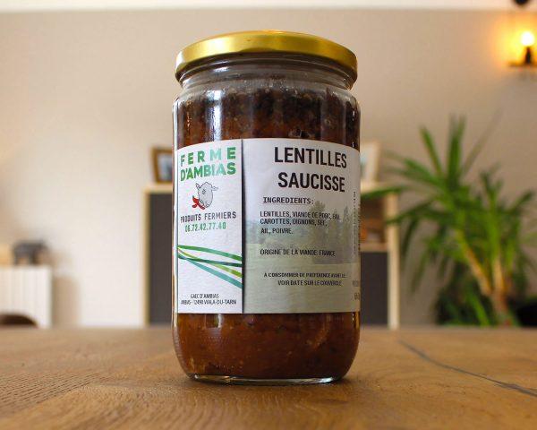 Lentille saucisse vente en ligne sur la boutique la Ferme d'Ambias à Gaec
